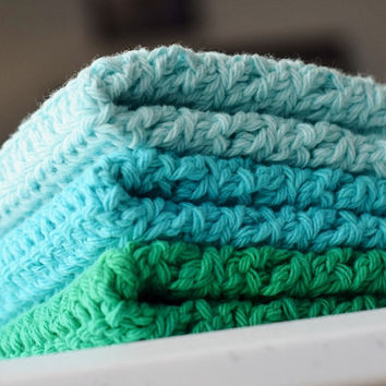 Crochet Dishcloths/ Washcloths Set of 3 -Mod Green, Turquoise, and Robin's Egg Blue- Cotton Dish Rags or Wash Cloths for Kitchen or Bathroom