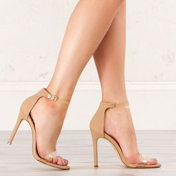 Clear Strappy Sandal in Rose Gold, Nude and Silver
