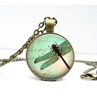 Dragonfly Scrapbook Necklace : Dragonfly Pendant Necklace.