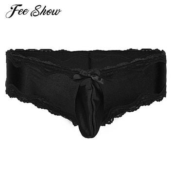 Sexy Men's Lingerie Briefs Underwear Low-waisted front with Bulge Pouch Underpants Gay Mens Lingerie Underwear Lacework Briefs