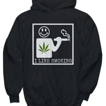 I Like Smoking Hoodie - White Square Green Leaf