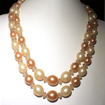 Cream and Iced Mocha Bead Necklace