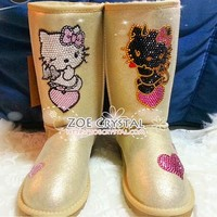 WINTER Gold Metallic UGG Inspired Sheepskin Winter Boots with Angel and Demon Hello Kitty made with Swarovski / Czech elements - ZoeCrystal