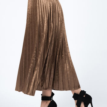 Coffee Velvet Pleated Midi Skirt
