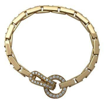 "Yellow Gold Cartier ""Agrafe"" Bracelet Set with Brilliants"