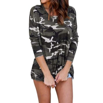 Hot Sale Women Camouflage Blouse Fashion Autumn Long Sleeve Top Blouse Lace Up Casual Blouses Shirts Tops