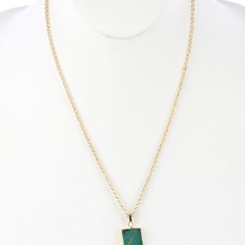 Teal Natural Stone Finish Tusk Pendant Necklace