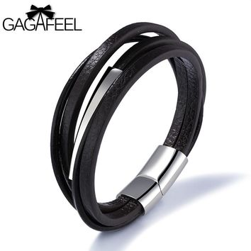 GAGAFEEL Magnetic Buckle Bracelet Men Jewelry Leather Cowhide Bangle 316L Stainless Steel Bracelets Rope Chain Multiple Layers