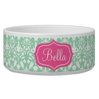 Pink And Mint Green Damask Pattern With Name Pet Bowl