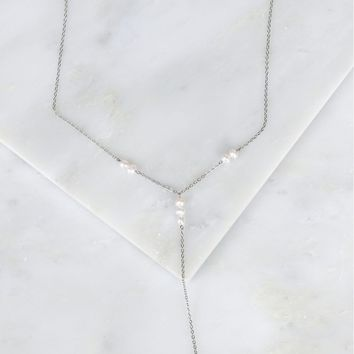 Pearl Drop Bar Necklace Silver