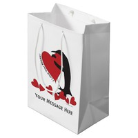 I Love You More! - Penguin Red Hearts Personalized Medium Gift Bag