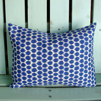 "lumbar 12"" X 16"" blue,natural polka dot Waverly outdoor indoor fabric- decorative pillow cover-throw pillow-accent pillow"