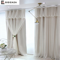 Torino tassels lanterns head top curtain ivory color cloth curtain+voile sheer black out fabric bedroom customize curtain window