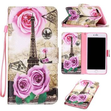 Fashion Rose Tower Painted Pattern Flip Cover Holster PU Leather Wallet Card Holder Shockproof Stand Mobile Phone Bag Case For i