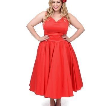 Plus Size 1950s Style Red Cotton Sateen Scallop Brenda Swing Dress | Unique Vintage