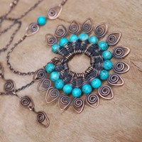 Artisan Peacock Tale Necklace with Turquoise in by NeroliHandmade
