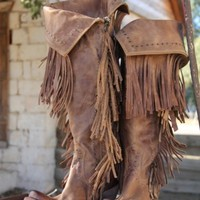 PRE-ORDER: Liberty Black Fringe Cowgirl Boots