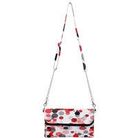 Red Black And Gray Dots Mini Crossbody Handbag