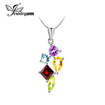 JewelryPalace Blue Topaz Garnet Amethyst Citrine Peridot Gemstone pendant Solid 925 Sterling Silver Fine Jewelry Without a Chain