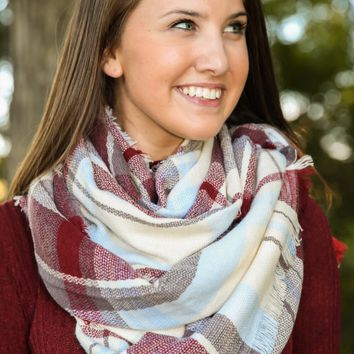 Have A Warm Heart Burgundy Plaid Scarf