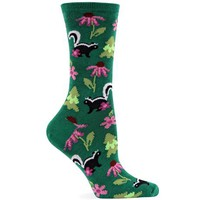 Hot Sox Women's Skunks With Flowers Sock