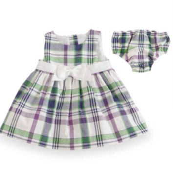 6-12 Months Purple/Green Plaid Gingham Empire Dress with Bloomers