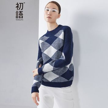 Toyouth 2017 New Arrival Sweaters Autumn Women Acrylic Plaid Printed Casual Pullovers Turtleneck Sweaters