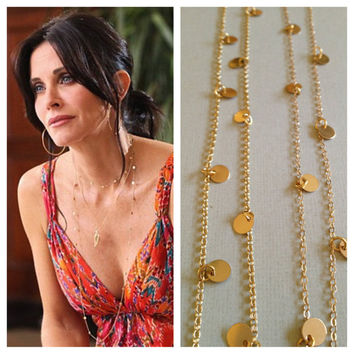 Courtney Cox Cougar Town Necklace - 44 Inches -Tiny Discs Long Gold Disco Necklace - Celebrity Style