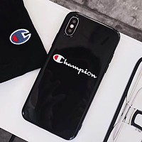 Champion Tide brand all-inclusive men's and women's iPhone XS Max soft shell phone case cover black