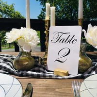 Gold Table Card Holder Tabletop Menu Holder Table Number Holder for Restaurants, Weddings, Banquets by Gallery360Designs