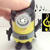 Despicable me LED Minions with the movie original sound COS super hero batman Minions Keyring gift for lovers Children gift