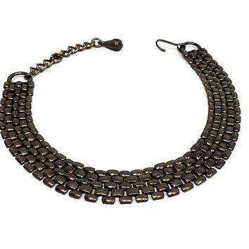 Antiqued Bronze Vintage Mesh Choker Necklace Metal Link Mid Century Dark Gold Color
