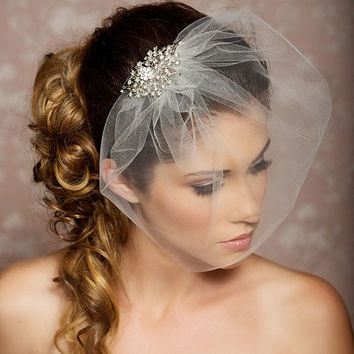 Rhinestone Veil Crystal Wedding Comb Blusher Tulle