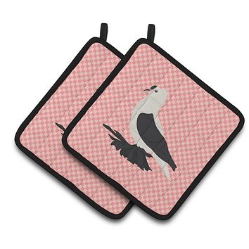 Saxon Fairy Swallow Pigeon Pink Check Pair of Pot Holders BB7946PTHD