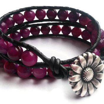 Fuchsia Leather Wrap Bracelet / Beaded Bracelet / Silver Flower Bracelet / Pink / Purple