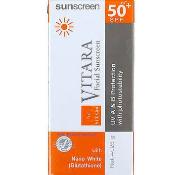 Vitara Facial Sunscreen With Nano White Glutathione SPF 50 25g 0.9oz