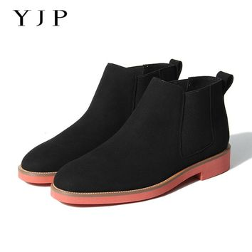 YJP Men Chelsea Boots, Black/Blue/Brown/Green Vintage Ankle Boot, Male Light Platform Flat Shoes/Flats, Autumn Botas Hombre Shoe
