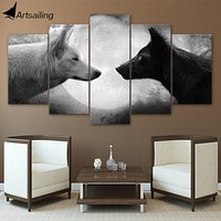 5 Pieces Black And White Wolves Wall Art Canvas Pictures