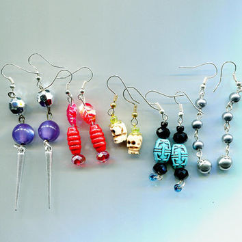 long bead drop dangle earrings lot skull skull leaf pearl 5 pairs handmade wholesale jewelry lot red blue purple mixed colors