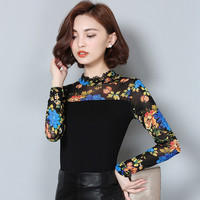 Spring New Flower Yarn Bottoming Shirt Women Blouse Korean Style Full Sleeve O-neck Lace Hollow Blouse Women Shirt Plus Size