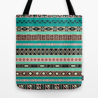 Aztec Tribal Pattern Tote Bag by RexLambo