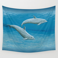 Sandscape Dolphins ~ Acrylic Wall Tapestry by Amber Marine | Society6