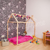 Montessori house bed CRIB SIZE, floor bed, baby bed, wooden house bed, kids bed, wood bed, nursery bed house, kids teepee, house bed frame