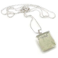 Mama Designs Glass Tile Inspirational Friend Necklace | Overstock.com Shopping - The Best Deals on Necklaces