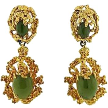 Stunning and Impressive Vintage Estate 1960s Jade Cabochon Free Form Earrings, Handmade Set in 14k Gold