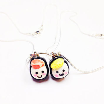 Sushi Friendship Necklace, miniature food jewelry, kawaii food jewelry, fake food necklace, best friend necklace bff, mini sushi
