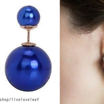 Royal blue double pearl earrings, Metallic blue Tribal style Faux double facing Pearl stud earring trendy celebrity style statement jewelry