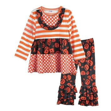Girl Clothes Set Orange Striped Skull Dress Outfit Costume