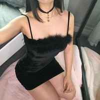 Winter Sexy Velvet One Piece Dress