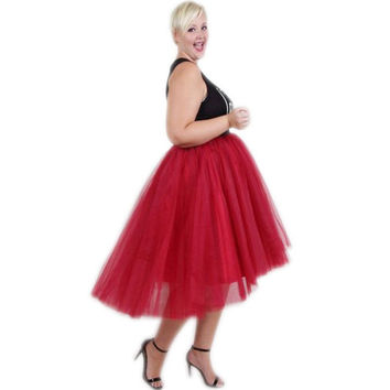 Plus Size Tulle Skirt Elastic Waistline Tee Length Asymmetrical Midi Skirt Custom Made Red High Low Tutu Skirts Women
